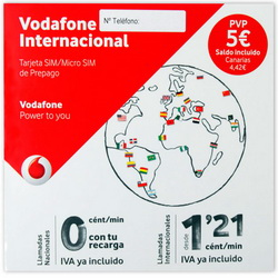 VODAFONE INTERNACIONAl SPANISH PREPAID SIM-CARD