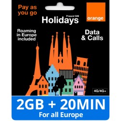 For Europe Orange Holidays 2GB internet and Calls