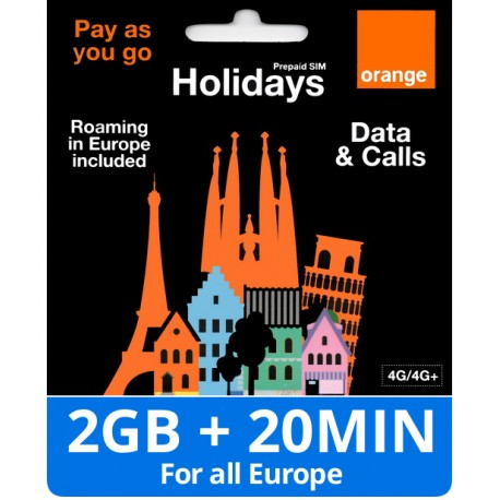 Orange Holidays 2GB internet and Calls for Europe and Spain