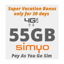 55GB Vacation Bonus for Spain and Europe 4G INTERNET - only for 30 days