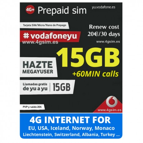 VODAFONE MEGAYUSER - SPANISH PREPAID SIM CARD - Pay As You Go - PayG
