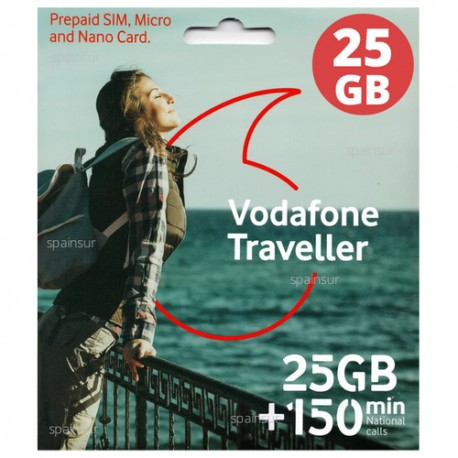 Vodafone Payg Top Up >> Vodafone Traveller 25gb Spanish Prepaid Sim Cards