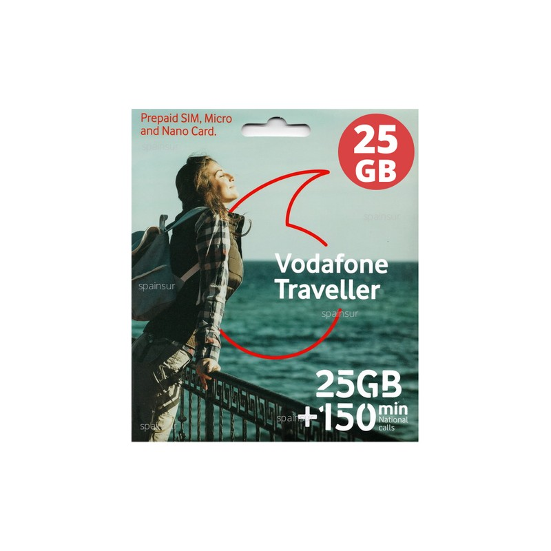 Vodafone Traveller 25gb Spanish Prepaid Sim Cards