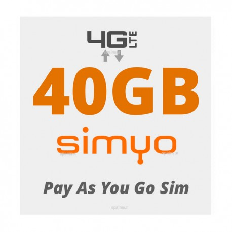 35GB for Spain and Europe 4G INTERNET - SIMYO Pay As You Go 4G Plans