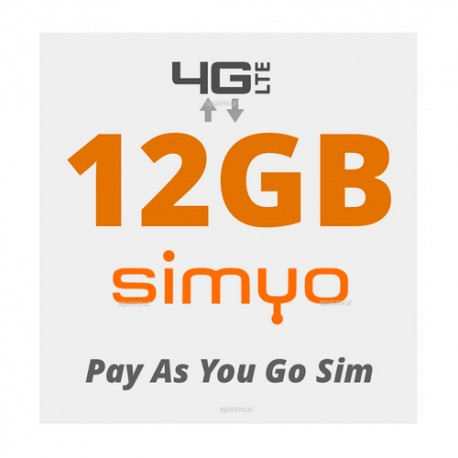 12GB for Spain and Europe 4G INTERNET - SIMYO Pay As You Go 4G Plans