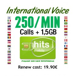 250MIN + 1,5GB International Voice and Internet, Hitsmobile prepaid-sim cards