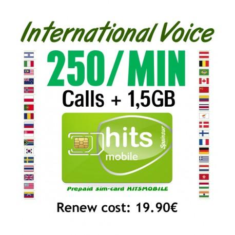 250MIN + 1,5GB International Voice and Internet, Hitsmobile prepaid-sim cards