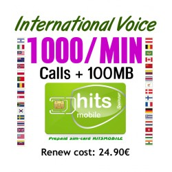 1000MIN International Voice, Hitsmobile prepaid-sim cards