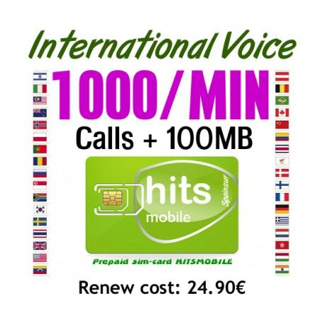 1000MIN International Voice, Hitsmobile prepaid-sim cards
