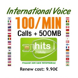 100MIN + 500MB International Voice and Internet, Hitsmobile prepaid-sim cards