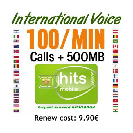 100MIN + 500MB International Voice and Internet, Hitsmobile prepaid-sim cards