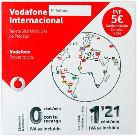 VODAFONE INTERNACIONAL - SPANISH PREPAID SIM CARD - Pay As You Go - PayG