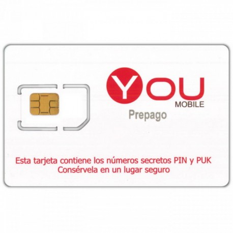 YOUmobile - SPANISH PREPAID SIM CARD - Pay As You Go - PayG