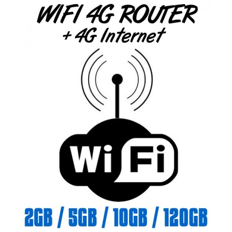WIFI 4G ROUTER + 4G Sim cards 2GB/5GB/10GB/120GB