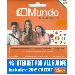 SIM ORANGE MUNDO + GO EUROPE - 3G internet for 36 countries in Europe, Includes 17,75€