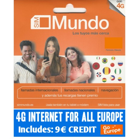 4G internet for 36 countries in Europe, Includes 9€