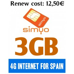 3GB for Spain 4G INTERNET - SIMYO Pay As You Go 4G Plans