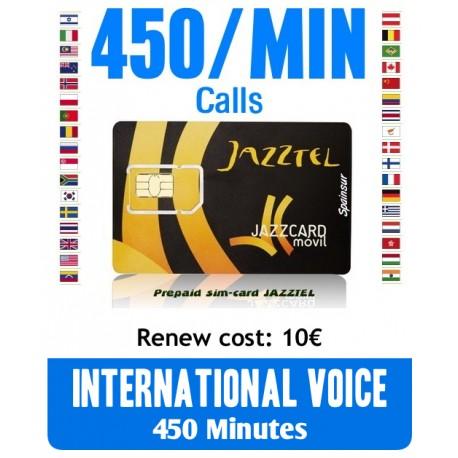 450MIN International Voice, JAZZCARD prepaid-sim cards