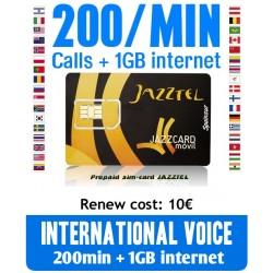 200MIN + 1GB International Voice and Internet, JAZZCARD prepaid-sim cards