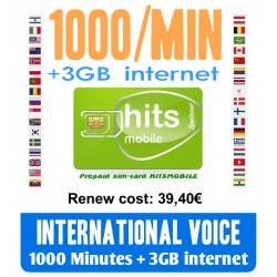 1000MIN International Voice and 3GB Internet, Hitsmobile prepaid-sim cards