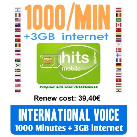 1000MIN International Voice and 3GB Internet, Hitsmobile prepaid-sim cards