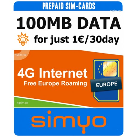 25GB for Spain and Europe 4G INTERNET - SIMYO Pay As You Go 4G Plans