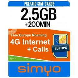 2GB + 200MIN for Spain 4G INTERNET - SIMYO Pay As You Go 4G Plans