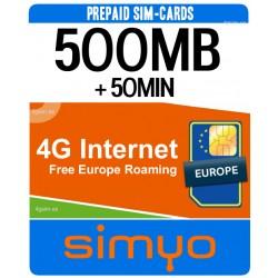 500MB + 30MIN for Spain 4G INTERNET - SIMYO Pay As You Go sim-cards