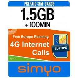 1.5GB + 100MIN for Spain 4G INTERNET - SIMYO Pay As You Go sim-cards