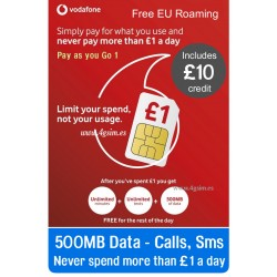 Vodafone UK GO1 - Includes: 10£. Data in Europe