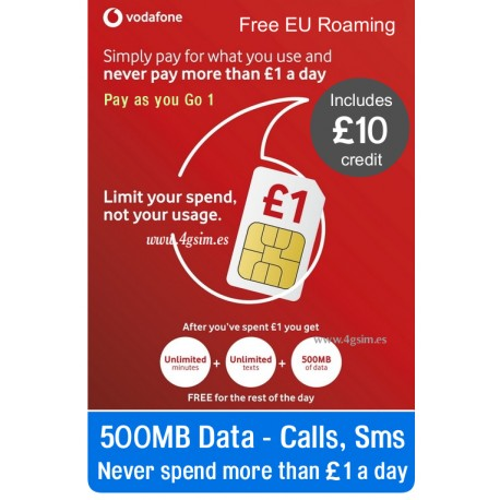 VODAFONE UK GO1, Never spend more than £1 a day