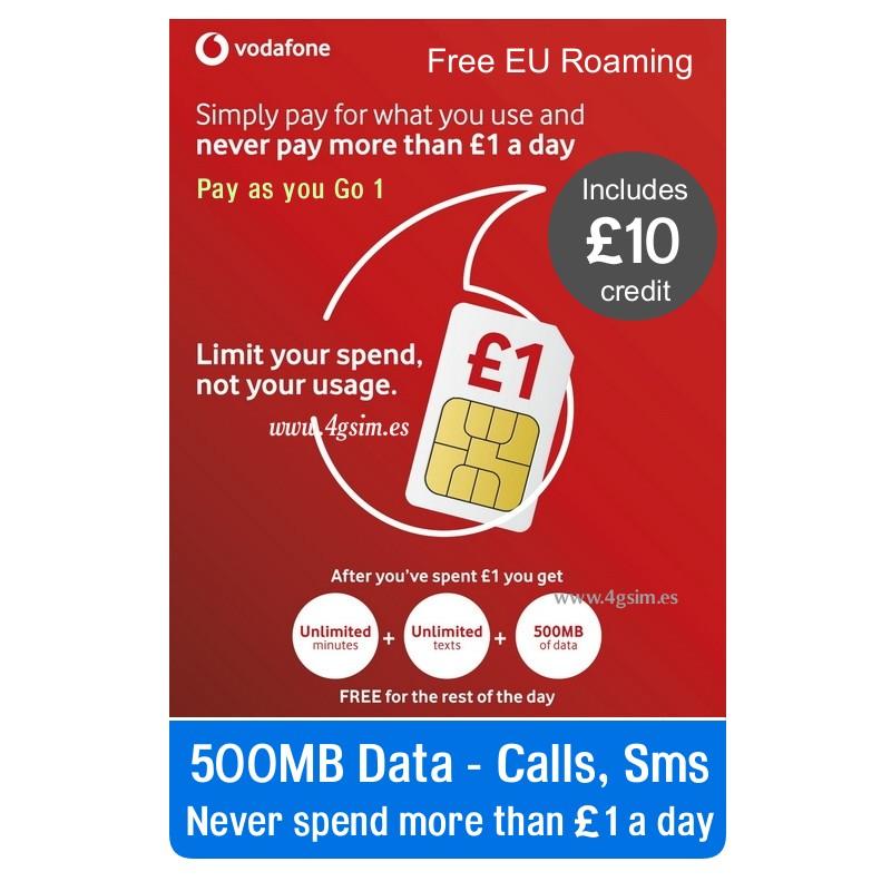 VODAFONE GO1- UK PREPAID SIM CARD Unlim Minutes, Unlim Sms ...