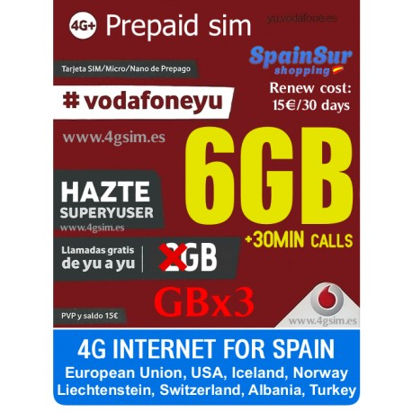 VODAFONE SUPER YUSER - SPANISH PREPAID SIM CARD - Pay As You Go - PayG