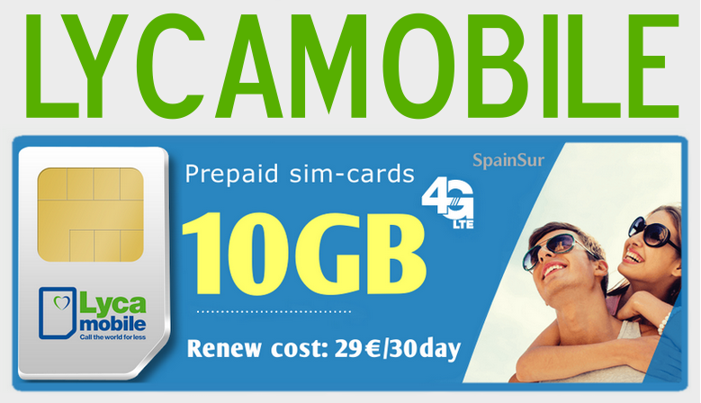 4G internet for Spain, prepaid sim-cards Lycamobile - 10GB
