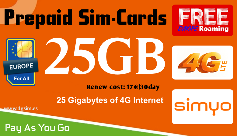 25GB Super Fast 4G internet for all Europe